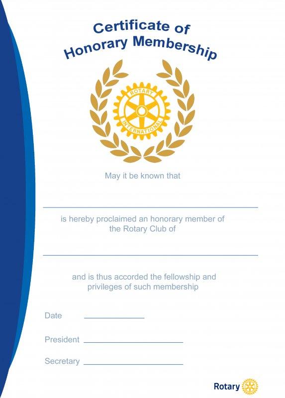 Rotary Ehrenurkunde