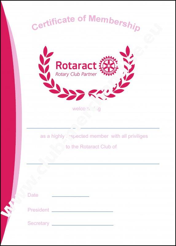 Rotaract Mitgliedsurkunde in Lederpräsentationsmappe