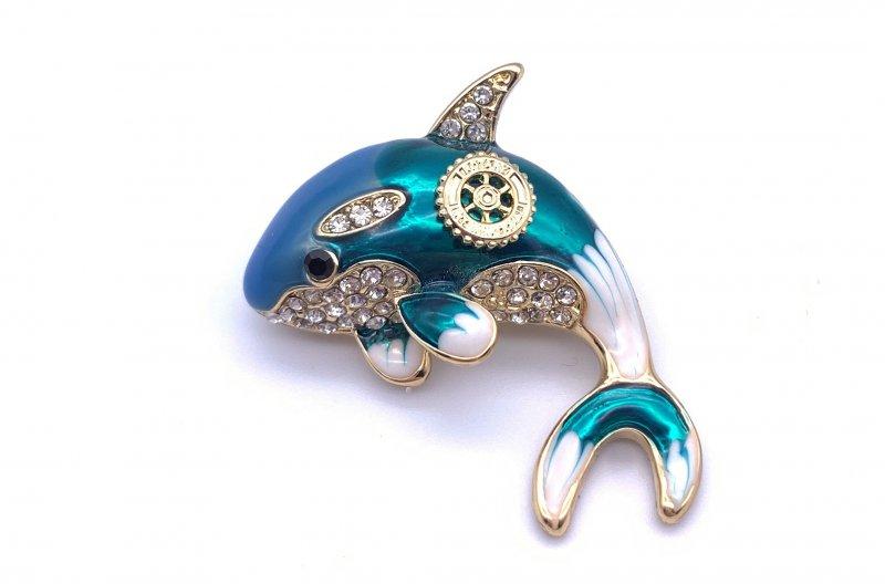 Damen-Brosche Delphin