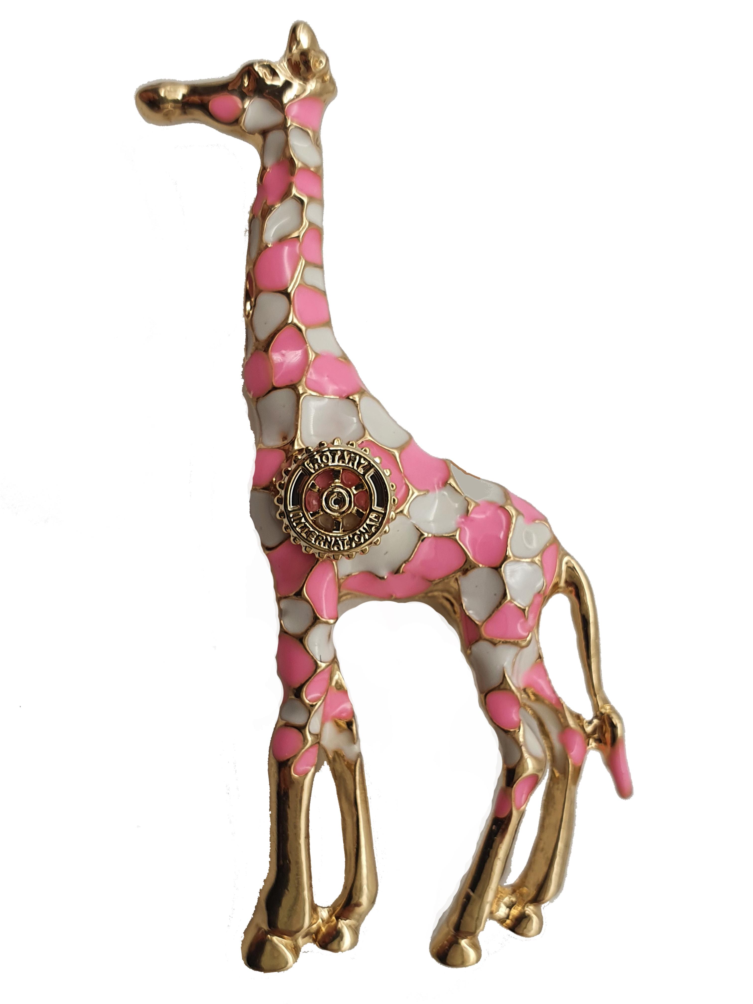Damen-Brosche Giraffe rosa weiss
