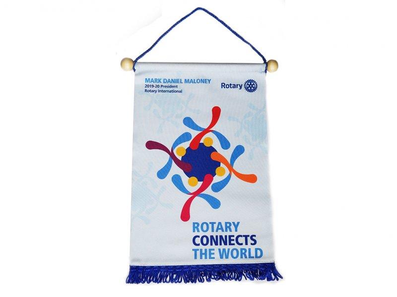 Tischbanner Jahresmotto 2019/20 - Rotary connects the World