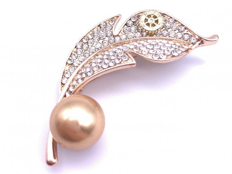 Damen-Brosche Blatt mit Perle