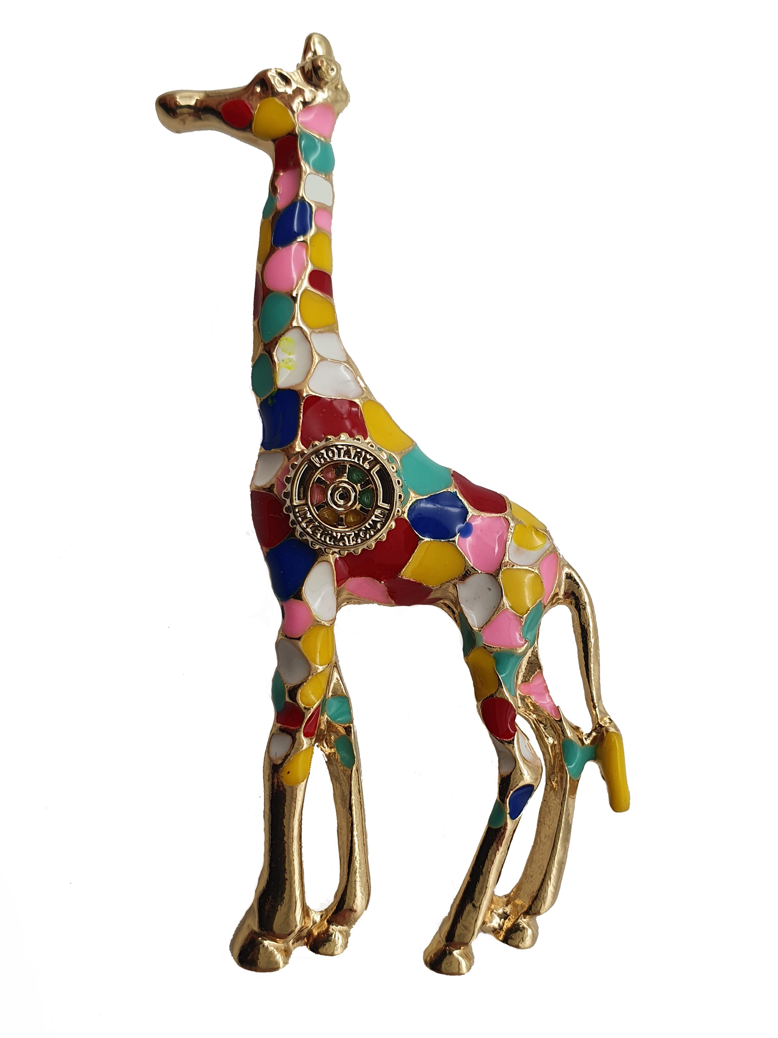 Damen-Brosche Giraffe bunt
