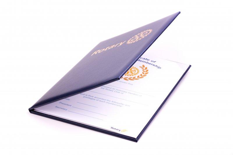 Mitgliedsurkunden in Lederpräsentationsmappe