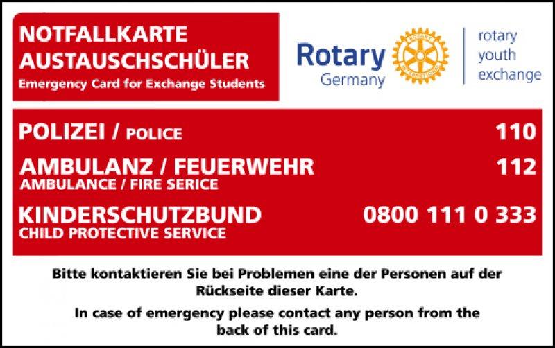 Notfallkarten für Austauschschüler