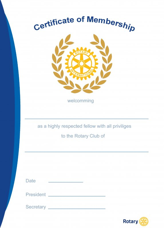 Rotary Mitgliedsurkunde