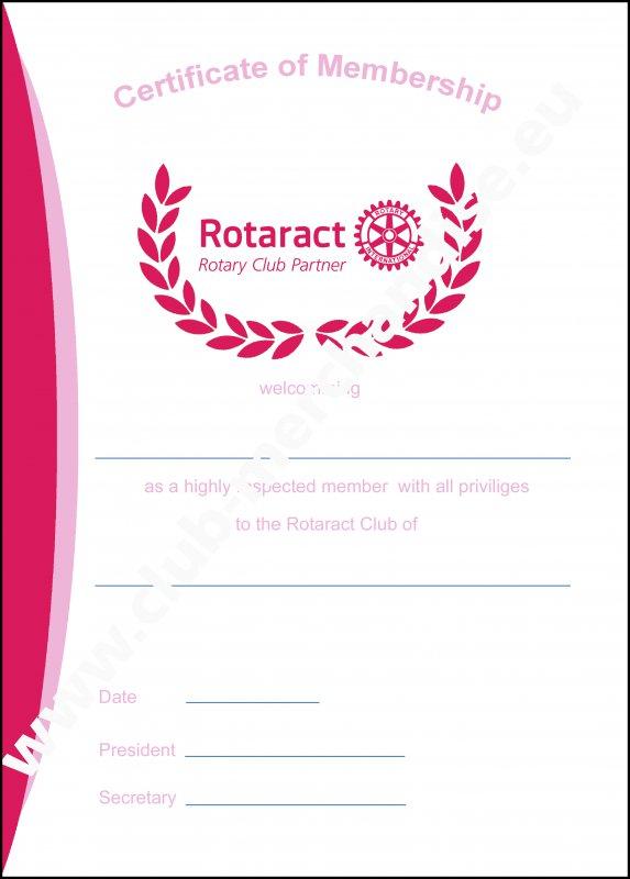 Rotaract Mitgliedsurkunde