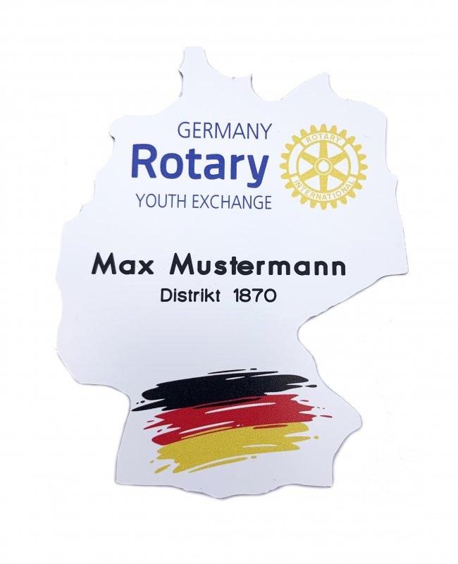 Namensschild in Deutschlandform